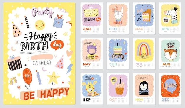 Kalendarz ścienny z okazji urodzin. planer roczny ma wszystkie miesiące. dobry organizator i harmonogram. modne ilustracje imprezowe, napis z wakacyjnymi cytatami. tło