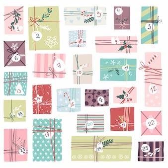 Kalendarz świątecznych przygód. ładny ręcznie rysowane styl. ustaw ilustracja do pakowania prezentów