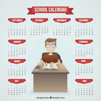 Kalendarz szkoła chłopca studiuje