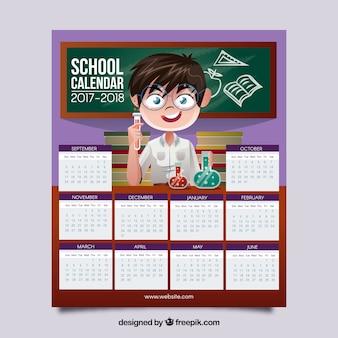 Kalendarz szkoły z chłopcem i laboratorium