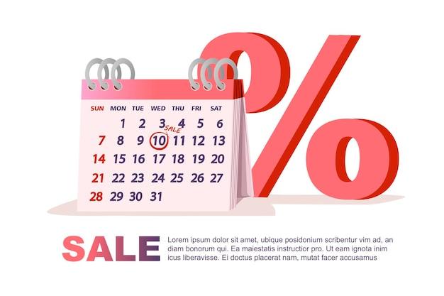 Kalendarz tabeli z datą sprzedaży i procentem symbol dzień sprzedaży tag płaskie wektor ilustracja na białym tle.