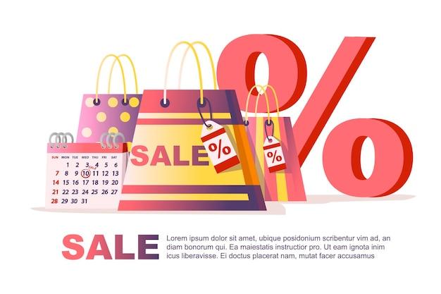 Kalendarz tabeli z datami sprzedaży torby na zakupy i procent symbol dzień sprzedaży tag płaskie wektor ilustracja na białym tle projekt ulotki poziomej transparentu.