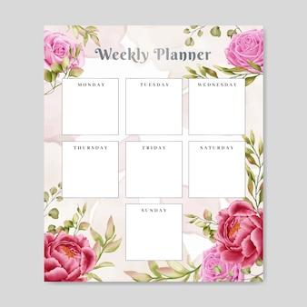 Kalendarz tygodniowy kwiatowy notatnik