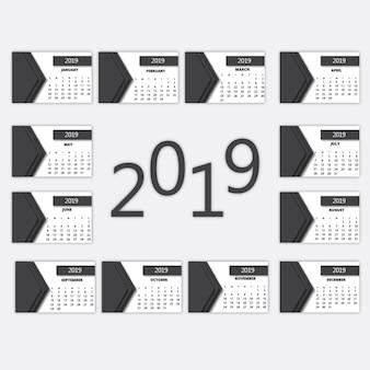 Kalendarz wektorowy 2019