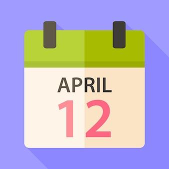 Kalendarz wielkanocny z datą 12 kwietnia. płaska stylizowana ilustracja z cieniem