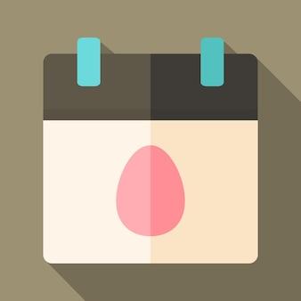 Kalendarz wielkanocny z jajkiem. płaska stylizowana ilustracja z cieniem