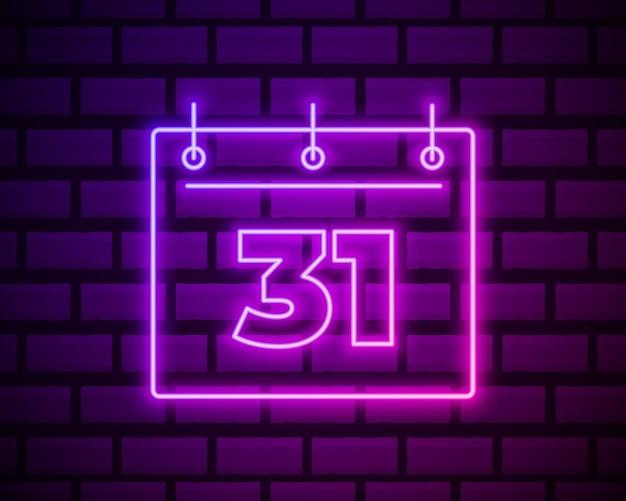 Kalendarz z 31 datą, prosta ikona. styl neonowy. lekka dekoracja