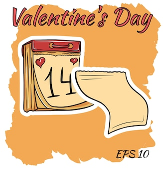 Kalendarz z datą 14 lutego. walentynki. styl kreskówki