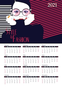 Kalendarz z kobietą mody w stylu pop-art.