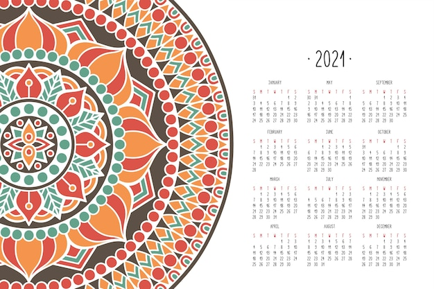 Kalendarz z mandalą w ciemnym stylu
