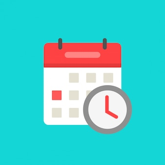 Kalendarz z zegarem jako czekanie zaplanowane wydarzenie ikona symbol na białym tle płaski kreskówka