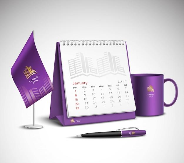 Kalendarz zestaw makiet tożsamości korporacyjnej