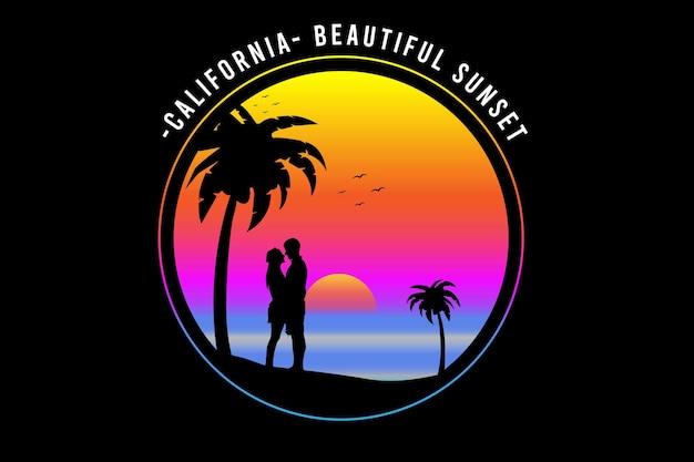 Kalifornia piękny kolor zachodu słońca żółty różowy i niebieski