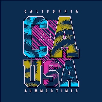 Kalifornijska letnia typografia graficzna
