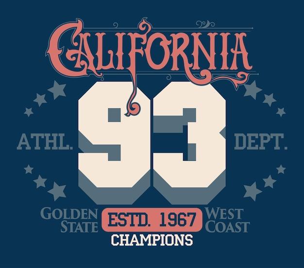 Kalifornijska typografia vintage, nadruk sportowy, projekt na t-shirt. godło złotej odzieży państwowej. wektor