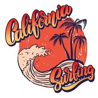 Kalifornijski jeździec surfingowy. szablon plakatu z napisem i palmami. wizerunek