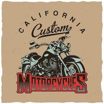 Kalifornijski plakat motocyklowy z motocyklem na koszulki i kartki z życzeniami