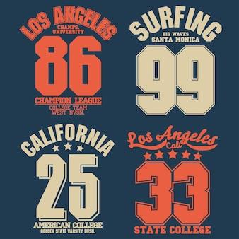 Kalifornijski projekt koszulki sportowej. grafiki typografii miasta los angeles. nadruk na koszulce, sportowy projekt odzieży.