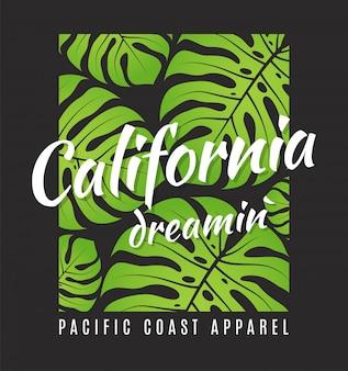 Kalifornijski teaminowy nadruk z tropikalnymi liśćmi.