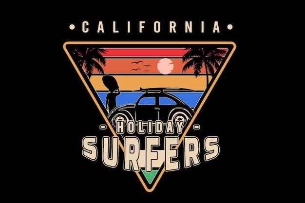 Kalifornijskie wakacje surferów w kolorze pomarańczowym żółtym i niebieskim