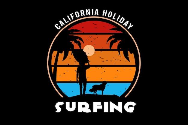 Kalifornijskie wakacje surfingowe w kolorze żółtym i niebieskim pomarańczowym