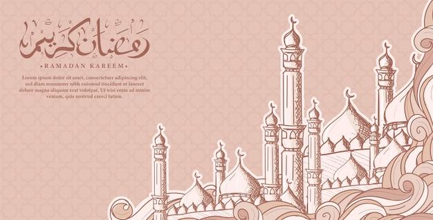 Kaligrafia arabska ramadan kareem z ręcznie rysowane ilustracji meczetu