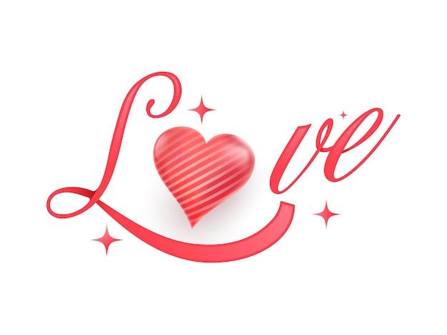 Kaligrafia czerwona miłość z błyszczącym sercem na białym tle.