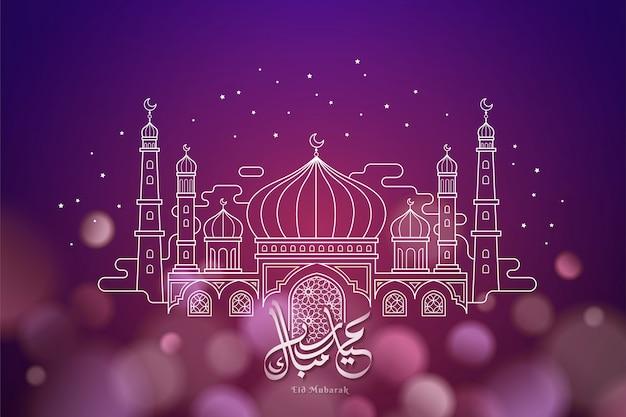 Kaligrafia eid mubarak z meczetem w stylu cienkich linii na błyszczącym fioletowym tle bokeh