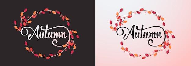 Kaligrafia jesienna. sezonowe tło napis