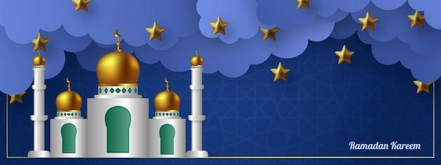 Kaligrafia ramadan kareem, piękny meczet i chmury, ilustracja