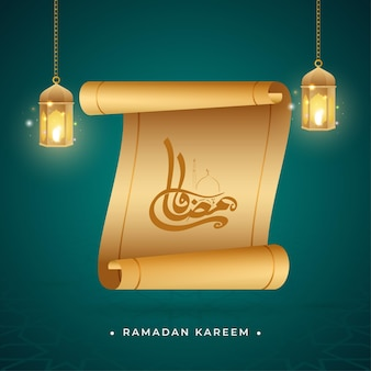 Kaligrafia ramadan kareem z papieru przewijania