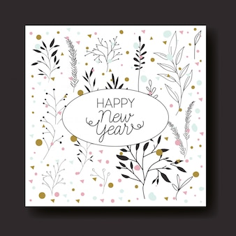 Kaligrafia szczęśliwego nowego roku karty z liści korony
