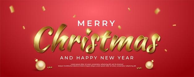 Kaligrafia wesołych świąt na banerze ze świąteczną dekoracją odpowiednią na boże narodzenie