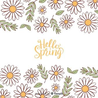 Kaligraficzna ręka rysujący kwiecisty wiosny tło