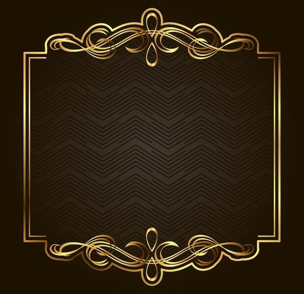 Kaligraficzna retro złota wektorowa rama na ciemnym tle. element projektu premium