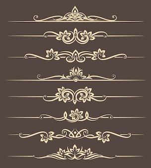 Kaligraficzne elementy projektu, przekładki strony z tajskim ornamentem. strona ozdobna dzielnik, ilustracja wektorowa kwiecisty