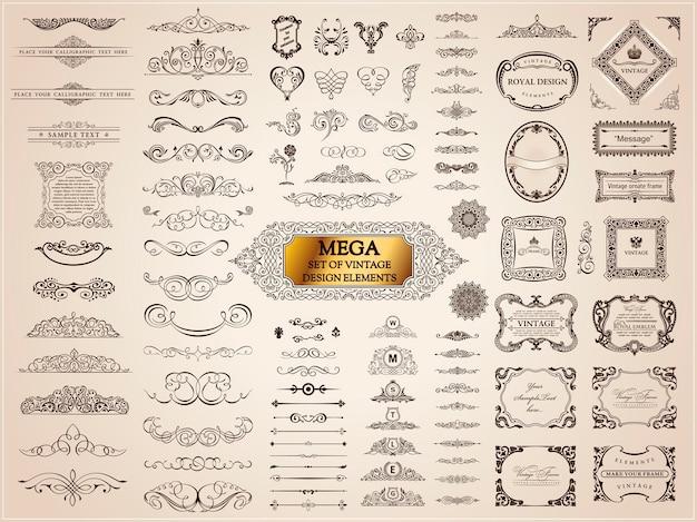 Kaligraficzne elementy vintage design ramki, ozdoby i przekładki