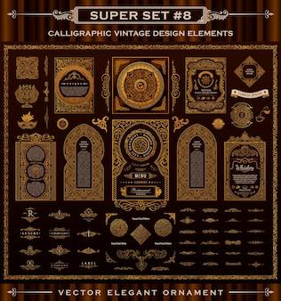 Kaligraficzne elementy vintage, ramki i etykiety projektowe