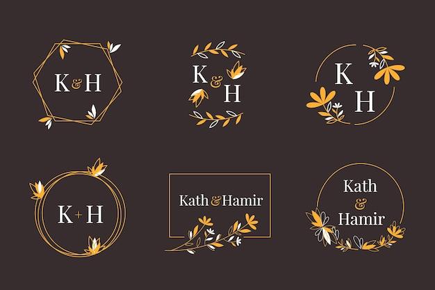 Kaligraficzne logo monogramów ślubnych