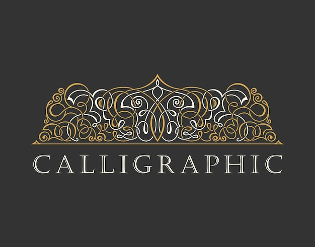 Kaligraficzne luksusowe logo z ornamentem w stylu vintage
