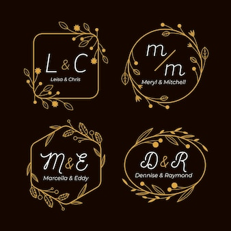 Kaligraficzne złote monogramy ślubne