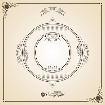 Kaligraficzny fotn z obramowaniem, elementami ramy i symbolami projektu zaproszenia.