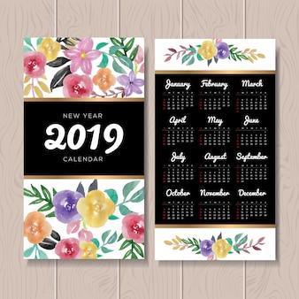 Kaligraficzny kwiatowy kalendarza 2019 szablon projektu