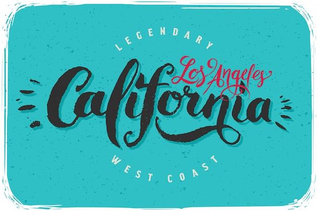 Kaligraficzny napis z tekstem los angeles w kalifornii