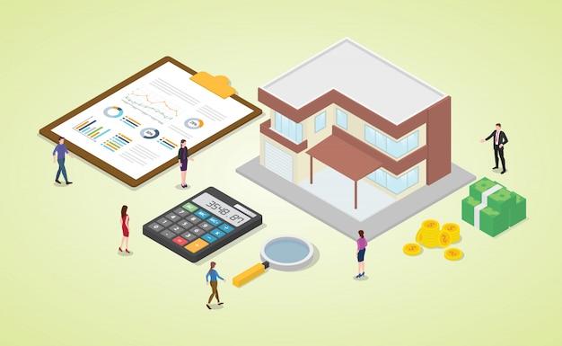 Kalkulator kredytu hipotecznego z zespołem ludzi i domu z kalkulacją wykresu pieniędzy i wykresu z izometrycznym nowoczesnym mieszkaniem