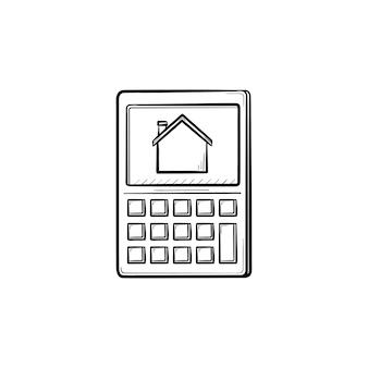Kalkulator z ikoną doodle wyciągnąć rękę symbol domu. oszczędność czynszu, płatność rachunków, koncepcja kredytu hipotecznego