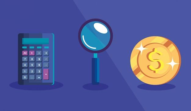 Kalkulator z lupą i monetą