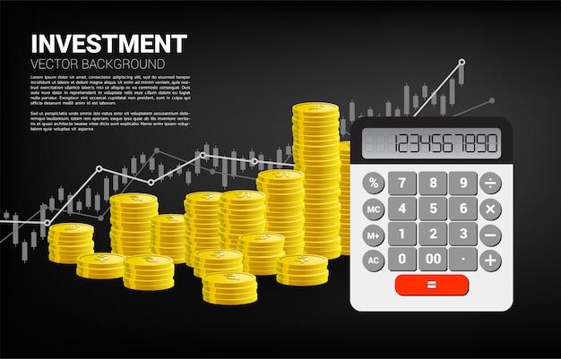 Kalkulator ze stosem monet i wykresem wzrostu. koncepcja inwestycji biznesowych i księgowości