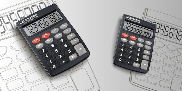 Kalkulator zestaw ilustracji