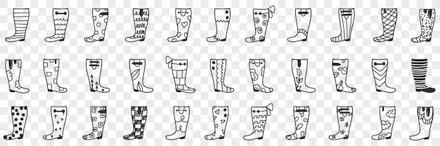 Kalosze projektuje zestaw doodle. kolekcja ręcznie rysowane różne wzory i wzory kaloszy do noszenia podczas deszczowej pogody obuwie na przezroczystym tle